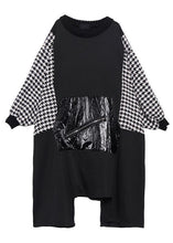 Load image into Gallery viewer, Women black cotton tunic dress asymmetric hem A Line patchwork Dresses