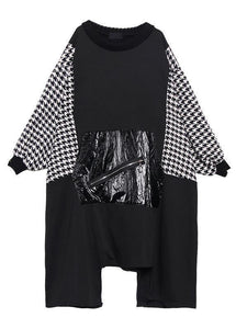 Women black cotton tunic dress asymmetric hem A Line patchwork Dresses