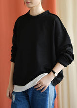 Load image into Gallery viewer, Women black cotton women blouses o neck false two pieces fall shirts
