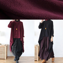 Load image into Gallery viewer, Women black knit blouse asymmetric hem oversize high neck knit tops