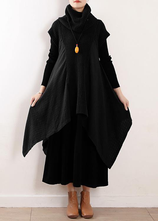 Women black linen clothes For high neck asymmetric patchwork fall Dresses