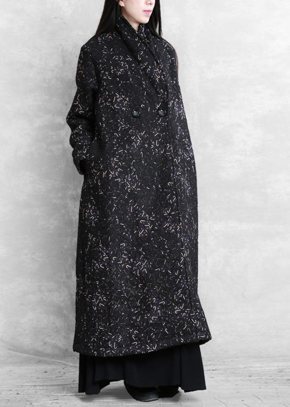 Women black print Plus Size tunic coat Fashion Ideas Notched pockets coat