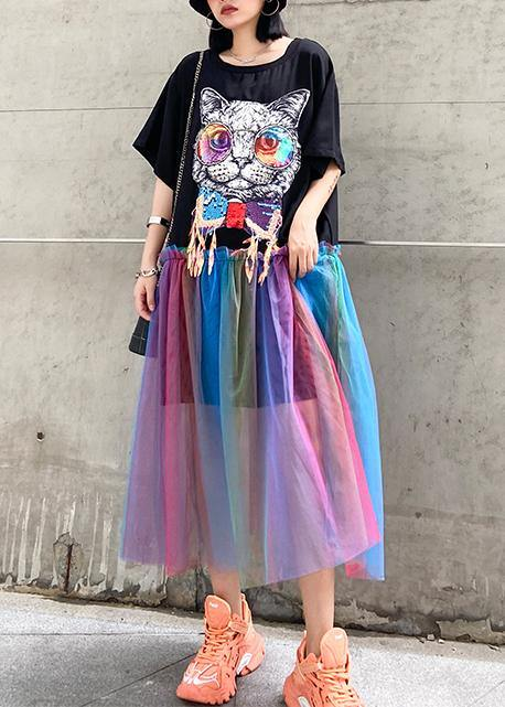 Women black print cotton dresses patchwork tulle A Line Dresses