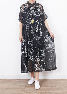 Women black silk dresses Boho Sleeve short sleeve Maxi summer Dresses