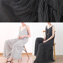 Load image into Gallery viewer, Women black striped chiffon clothes Boho Outfits Spaghetti Strap asymmetric Robe Summer Dresses