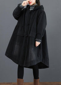 Femmes vêtements noirs Fashion Ideas manteau à capuche large ourlet