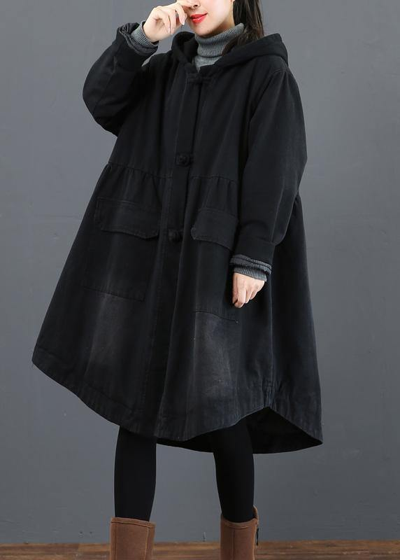 Women black  clothes Fashion Ideas hooded large hem coat