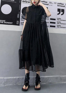 Women black tulle tunic top short sleeve Robe summer Dress
