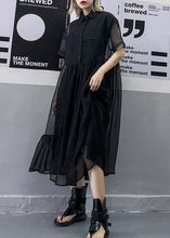 Load image into Gallery viewer, Women black tulle tunic top short sleeve Robe summer Dress