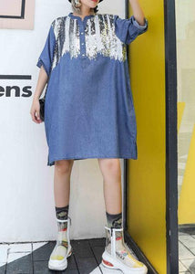 Women blue Cotton dresses side open Midi fall Dresses