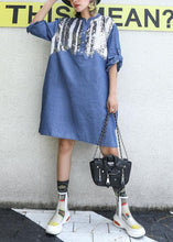 Load image into Gallery viewer, Women blue Cotton dresses side open Midi fall Dresses