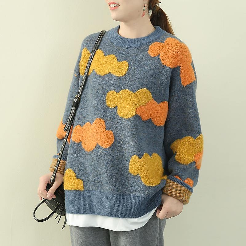 Women blue Cloud Knit Sweaters o neck false two pieces knitted pullover