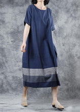 Load image into Gallery viewer, Women blue cotton clothes For Women patchwork long summer Dresses