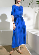Load image into Gallery viewer, Women blue cotton tunics for women o neck tie waist A Line summer Dress