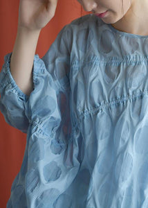 Women blue linen shirts women Batwing Sleeve cotton fall shirts