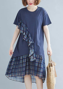 Women blue plaid Cotton tunic o neck patchwork tulle daily Dresses