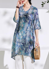 Load image into Gallery viewer, Women blue print cotton linen clothes For Women Photography v neck tie waist shirts