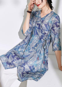 Women blue print cotton linen clothes For Women Photography v neck tie waist shirts