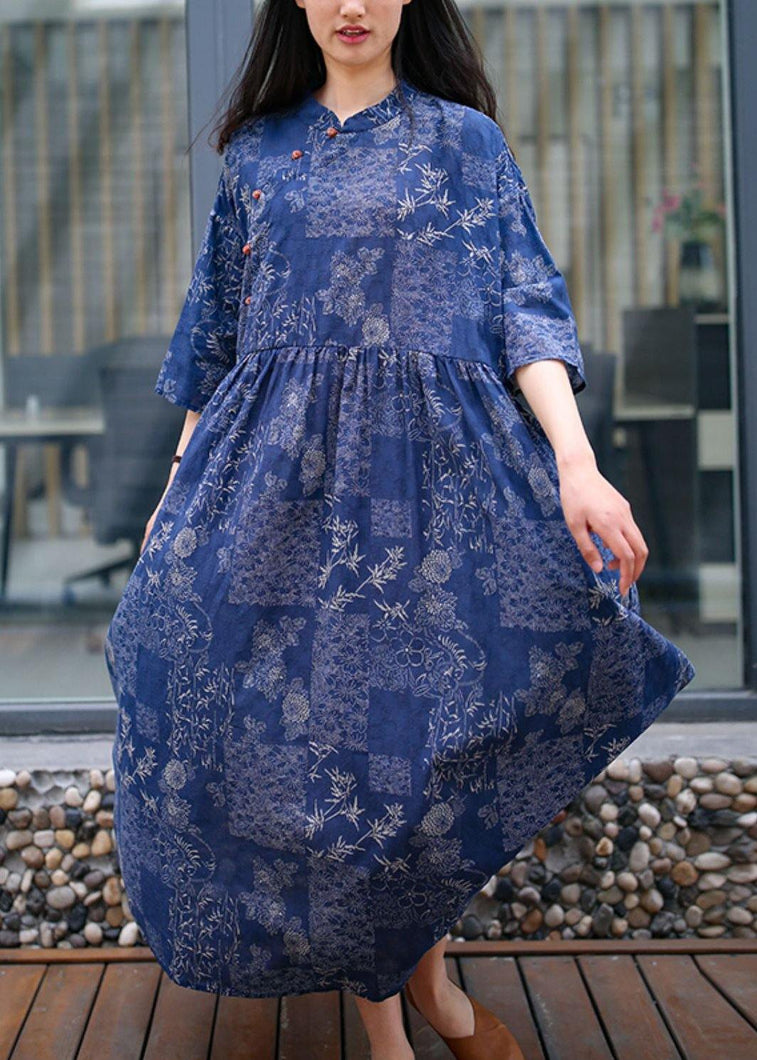Women blue print cotton quilting clothes stand collar exra large hem Traveling summer Dress
