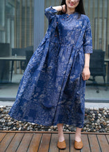 Load image into Gallery viewer, Women blue print cotton quilting clothes stand collar exra large hem Traveling summer Dress