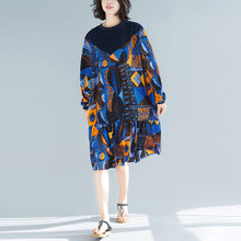 Load image into Gallery viewer, Women blue prints cotton clothes stylish pattern ruffles Kaftan patchwork o neck Dresses