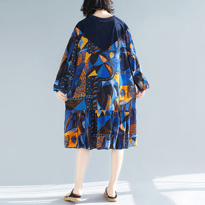 Women blue prints cotton clothes stylish pattern ruffles Kaftan patchwork o neck Dresses