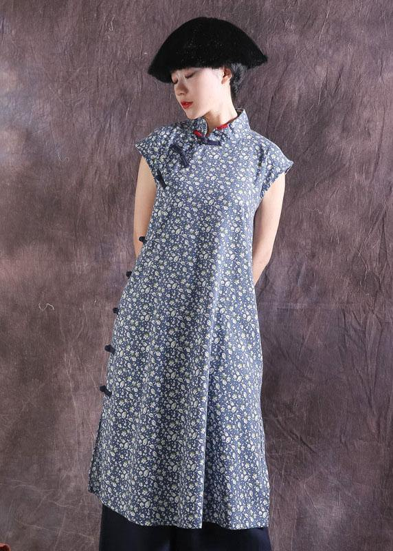 Women blue prints cotton dresses Chinese Button Traveling summer Dress
