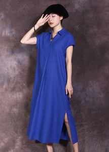 Women blue side open cotton linen dresses lapel collar summer Dresses
