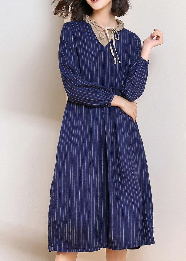 Women blue striped linen dresses v neck Vestidos De Lino patchwork  Dresses