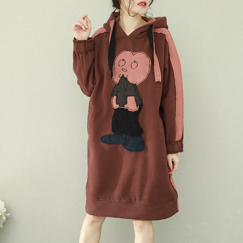 Women brown Cotton Wardrobes Vintage Photography hooded thick short Dress
