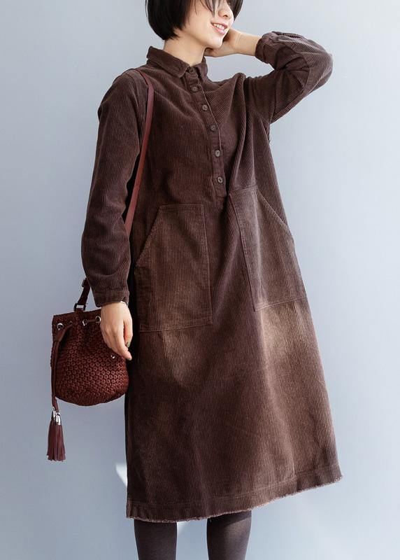 Women brown cotton Wardrobes side open Robe lapel collar Dresses