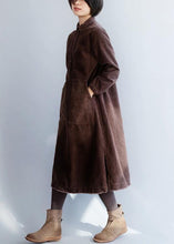 Load image into Gallery viewer, Women brown cotton Wardrobes side open Robe lapel collar Dresses