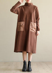 Women brown cotton clothes high neck patchwork Dress