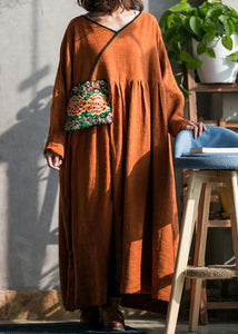 Women brown cotton linen quilting dresses o neck embroidery spring Dresses