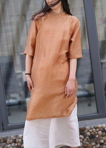 Women brown linen outfit stand collar side open Art Dress