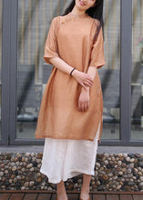 Load image into Gallery viewer, Women brown linen outfit stand collar side open Art Dress