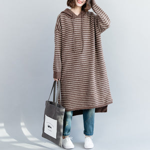 Women brown striped Sweater Aesthetic Quotes Funny hooded knitwear