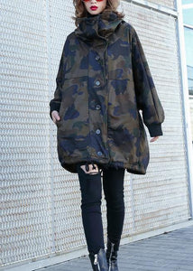 Women camouflage fine Coats Photography high neck Button Down fall coats