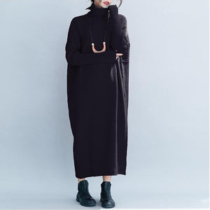 Women casual Loose High Neck Maxi Sweater Dresses