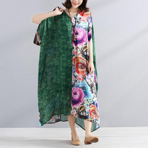 Women chiffon Robes Fitted V Neck Splicing Short Sleeves Printed Women Summer Dress
