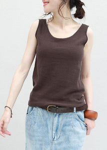 Women chocolate cotton Long Shirts sleeveless loose summer top