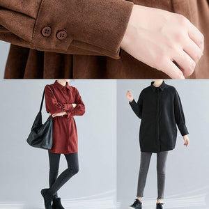 Women chocolate cotton tops women lapel Button oversized spring blouses