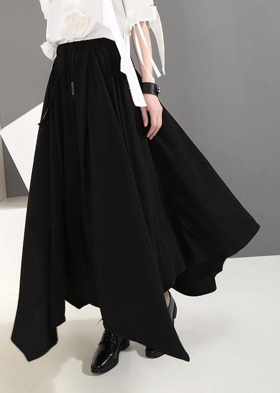 Women clothes Vintage Summer Draped Black Fashion Wide Leg Pants