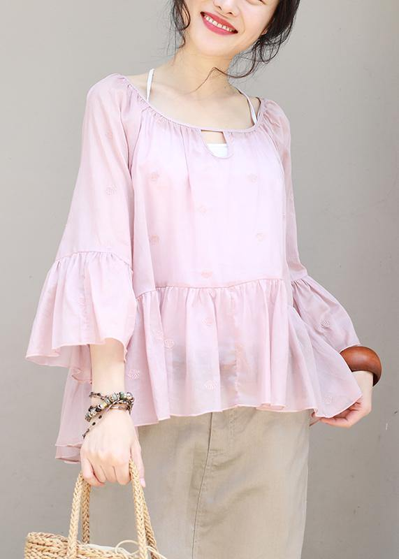 Women cotton Long Shirts boutique Summer Pleated Hem Loose Casual Blouse