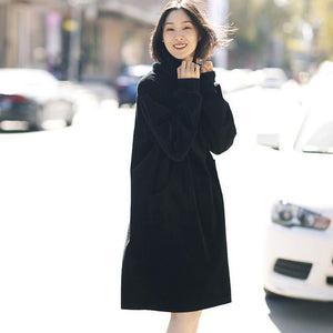 Women cotton quilting clothes boutique high neck Sleeve black Art Dress spring