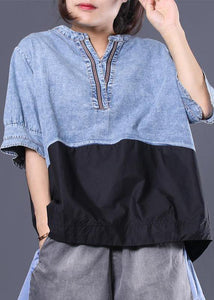 Women cotton shirts women Women Cotton V-Neck Spliced Pleated Short Sleeve Blouse