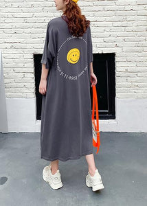 Women dark gray Cartoon print clothes o neck Plus Size summer Dress