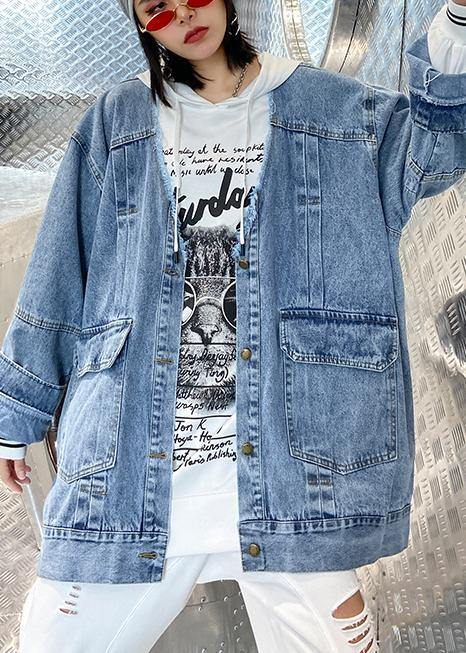 Women denim blue Fine trench coat Shape Button Down outwear
