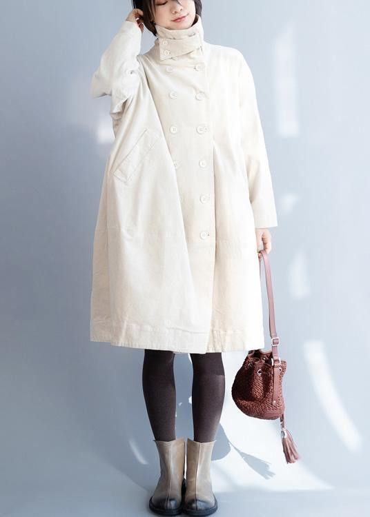 Women double breast Fine stand collar box coat beige Vestidos De Lino jackets