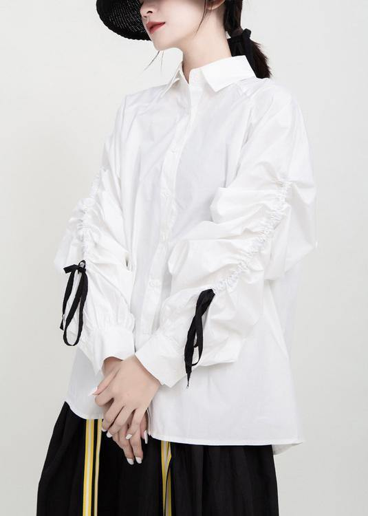 Women drawstring cotton fall clothes Tutorials white shirts